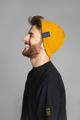 Merino Wool Beanie - Old Gold