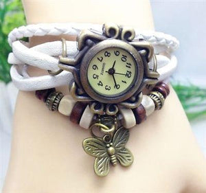 Retro Wrap Multi Row Leather Bracelet Watch - White