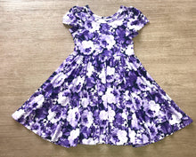 Load image into Gallery viewer, Purple Floral Watercolor Twirl Hugs Dress - RTS