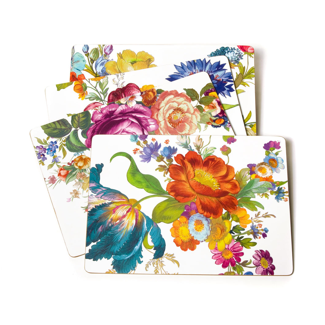 MacKenzie-Childs Flower Market Placemats - White - Set of 4