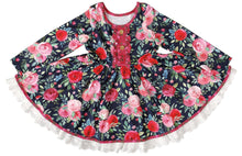 Load image into Gallery viewer, Navy & Pink Vintage Twirl Hugs Dress - RTS