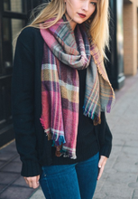 Load image into Gallery viewer, Fuchsia Mix Plaid Winter Long Fringe Scarf