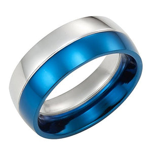 Men's Ring, Stainless Steel and Blue Ring for Men, Holiday Gift for Men