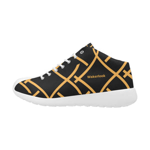 Black Golden Color Print Wakerlook Men's  Shoes