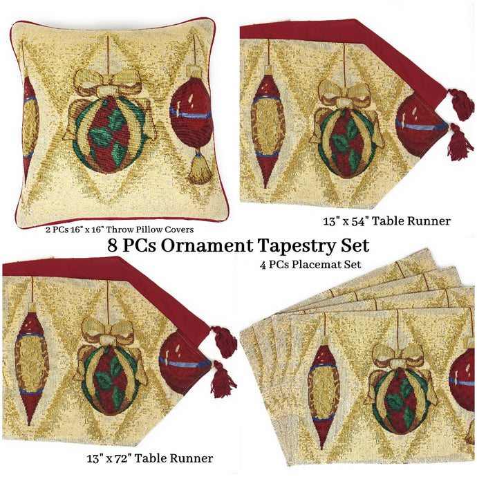 DaDa Bedding Set of 8 Pieces Elegant Christmas Ornaments Table Tapestry - 4 Placemats, 2 Table Runners, 2 Throw Pillow C