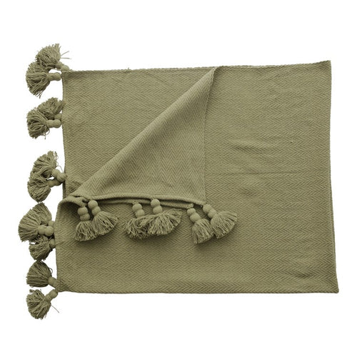 Olive Tassel Throw