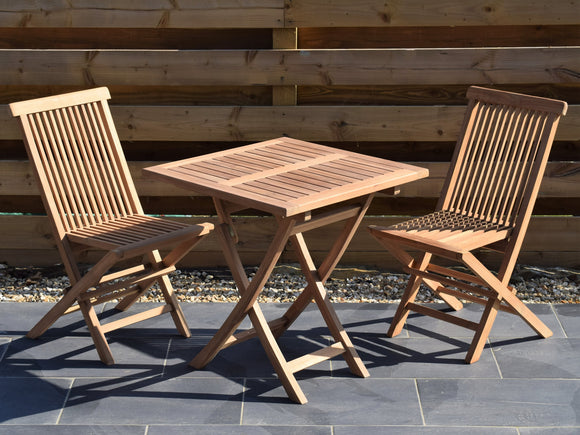 2 Seater Square Folding Teak Set with Classic Folding Chairs