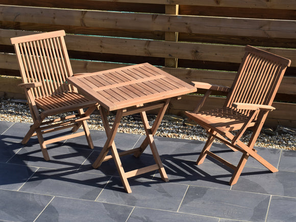 2 Seater Square Folding Teak Set with Folding Armchairs