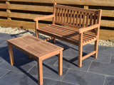 2 Seater Rectangular Coffee Table Teak Set with Garden Bench