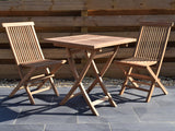 2 Seater Square Folding Teak Set with Folding Chairs