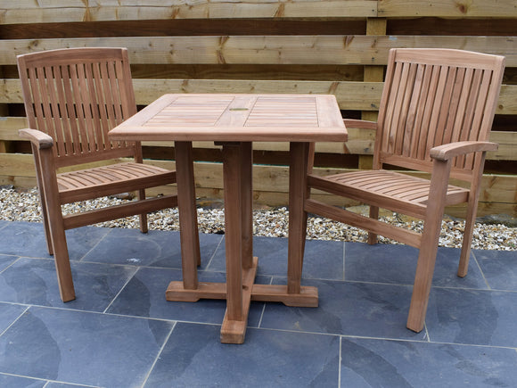 2 Seater Square Pedestal Teak Set with Henley Stacking Armchairs