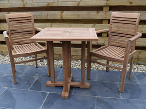 2 Seater Square Pedestal Teak Set with Newbury Stacking Armchairs