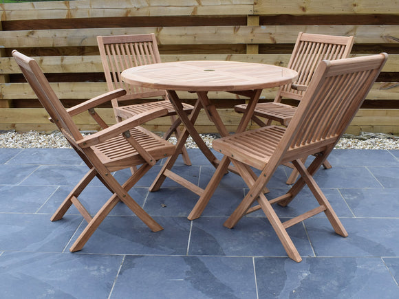 4 Seater Round Folding Teak Set with Folding Chairs & Armchairs