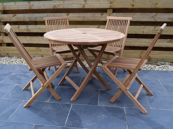 4 Seater Round Folding Teak Set with Classic Folding Chairs