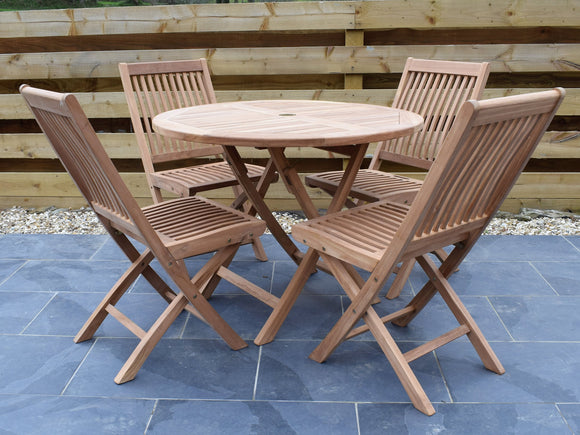 4 Seater Round Folding Teak Set with Folding Chairs