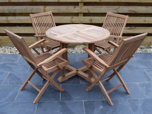 4 Seater Round Pedestal Teak Set with Folding Armchairs