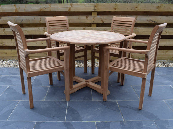 4 Seater Round Pedestal Teak Set with Newbury Stacking Armchairs