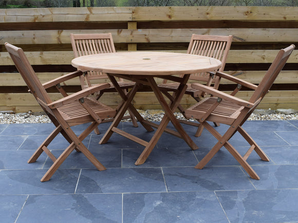 4 Seater Large Round Folding Teak Set with Folding Armchairs