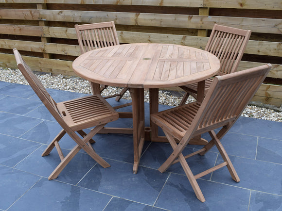 4 Seater Round Folding Gate-Leg Teak Set with Folding Chairs