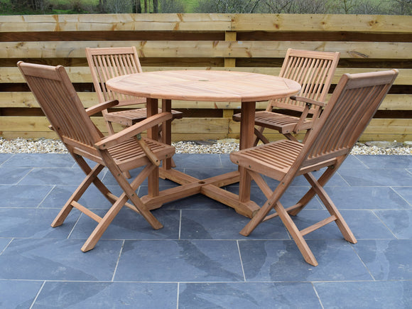4 Seater Large Round Pedestal Teak Set with Folding Chairs and Armchairs
