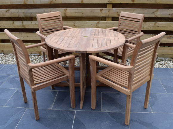 4 Seater Round Folding Gate-Leg Teak Set with Stacking Armchairs