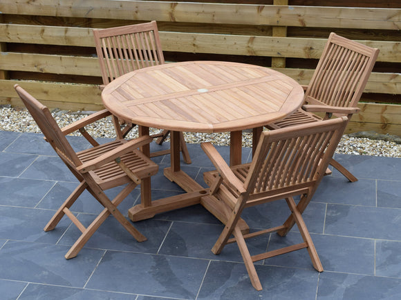4 Seater Large Round Pedestal Teak Set with Folding Armchairs