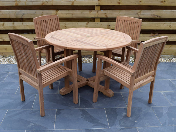 4 Seater Large Round Pedestal Teak Set with Henley Stacking Armchairs