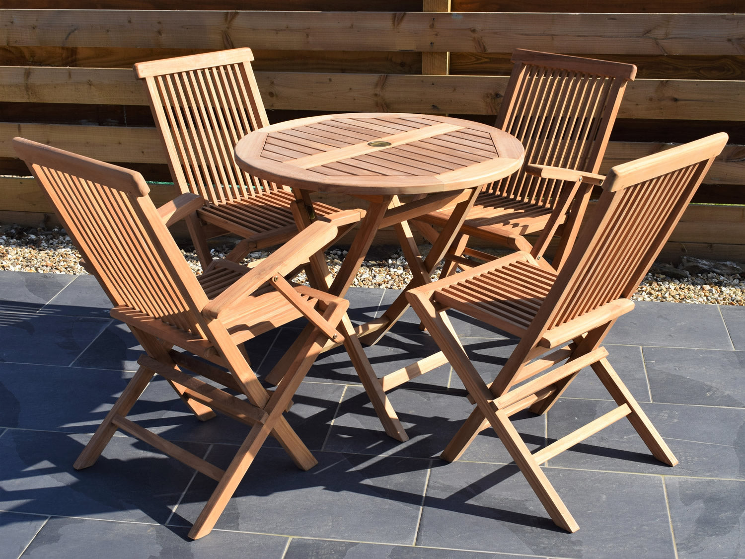Picture of: 4 Seater Small Round Folding Teak Set With Classic Folding Chairs Ar Patio Garden Furniture