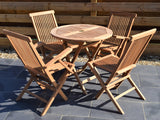 4 Seater Small Round Folding Teak Set with Classic Folding Chairs & Armchairs
