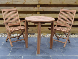 2 Seater Round Bistro Teak Set with Folding Armchairs