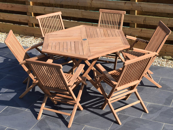 6 Seater Hexagonal Folding Teak Set with Classic Folding Armchairs