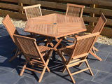 6 Seater Hexagonal Folding Teak Set with Classic Folding Chairs