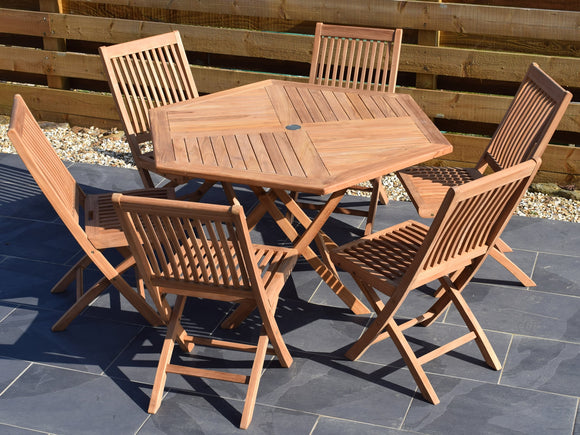 6 Seater Hexagonal Folding Teak Set with Folding Chairs