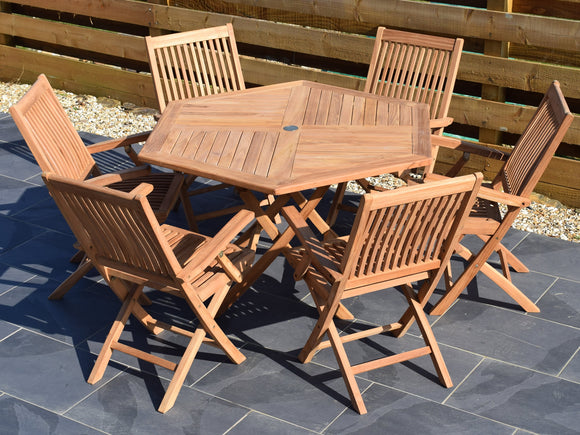 6 Seater Hexagonal Folding Teak Set with Folding Armchairs
