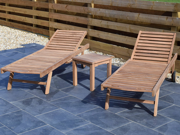 2 Seater Square Coffee Table Teak Set with Sunloungers