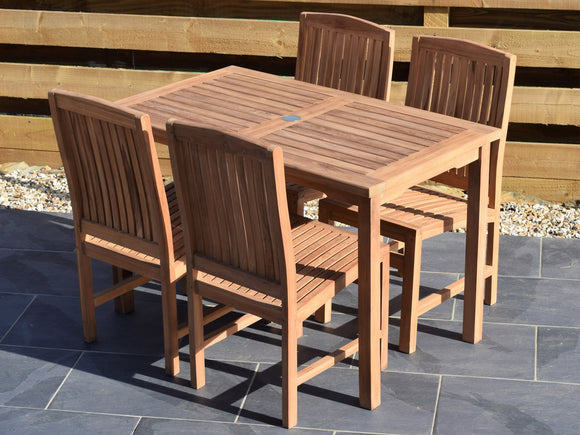 4 Seater Rectangular Bistro Teak Set with Dining Chairs