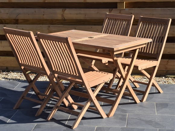 4 Seater Rectangular Folding Teak Set with Folding Chairs