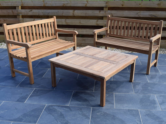 4 Seater Large Square Coffee Table Teak Set with Classic Garden Benches