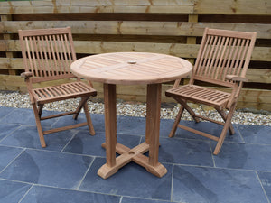 2 Seater Round Pedestal Teak Set with Folding Armchairs