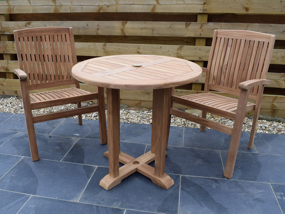 2 Seater Round Pedestal Teak Set with Henley Stacking Armchairs