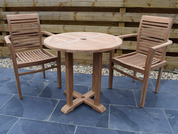 2 Seater Round Pedestal Teak Set with Newbury Stacking Armchairs