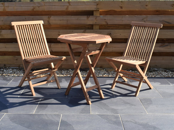 2 Seater Octagonal Folding Teak Set with Folding Chairs