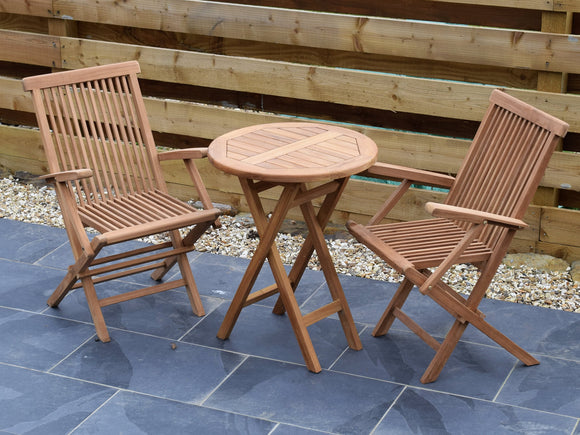 2 Seater Round Folding Teak Set with Folding Armchairs