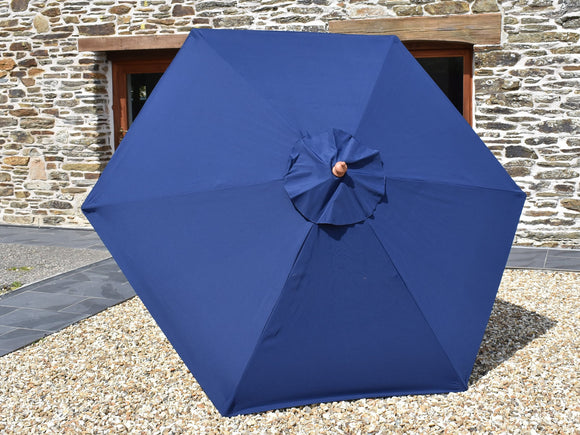 2.5m Hexagonal Wooden Garden Parasol Blue