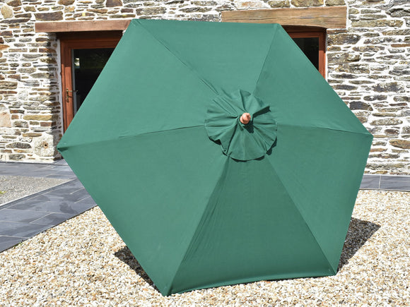 2.5m Hexagonal Wooden Garden Parasol Green