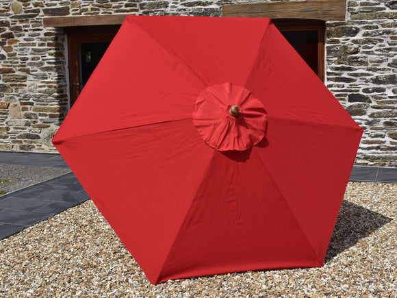 2.5m Hexagonal Wooden Garden Parasol Red