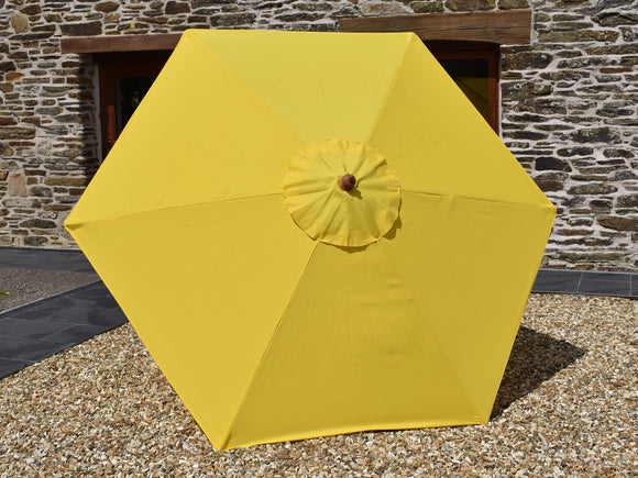 2.5m Hexagonal Wooden Garden Parasol Yellow