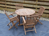 4 Seater Round Pedestal Teak Set with Classic Folding Armchairs