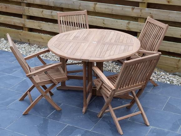 4 Seater Round Folding Gate-Leg Teak Set with Folding Armchairs
