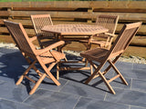 4 Seater Octagonal Folding Teak Set with Folding Chairs & Armchairs